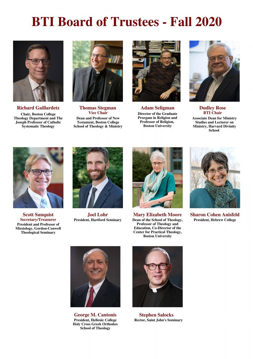 Informational graphic displaying photos and names for each of the BTI Consortium board members. This image will soon be replaced with individual images of board members.