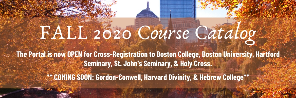 Boston Common in fall. Skyline. Bold white text reads Fall 2020 Course Catalog.